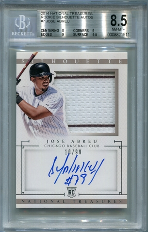 Jose Abreu Rookie BGS Certified Authentic Autograph - 2014 National Treasures RCA