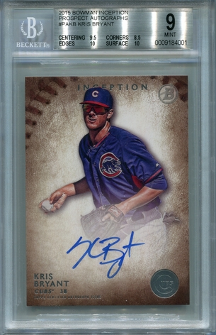 Kris Bryant BGS Certified Authentic Autograph - 2015 Bowman Inception Prospect #PAKB