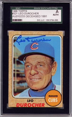 Leo Durocher SGC Certified Authentic Autograph - 1968 Topps #321