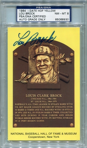 Lou Brock PSA/DNA Certified Authentic Autograph - Hall of Fame Plaque Postcard