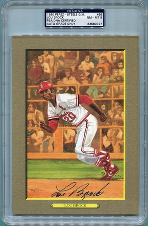 Lou Brock PSA/DNA Certified Authentic Autograph - Perez-Steele Great Moments Postcard PSA 8