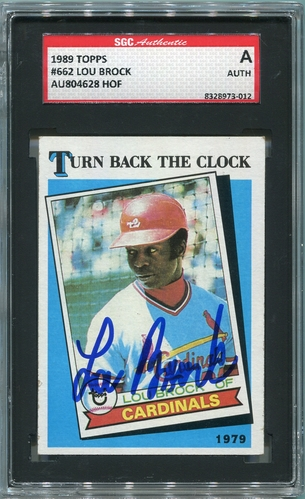 Lou Brock SGC Certified Authentic Autograph - 1989 Topps