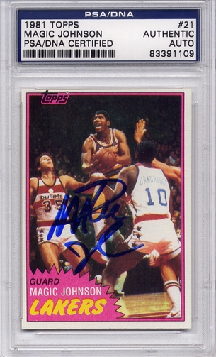 Magic Johnson PSA/DNA Certified Authentic Autograph - 1981 Topps