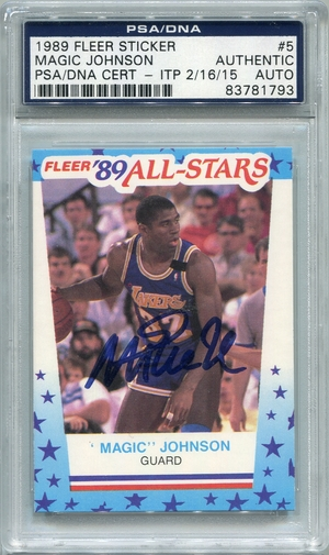 Magic Johnson PSA/DNA Certified Authentic Autograph - 1989 Fleer Sticker
