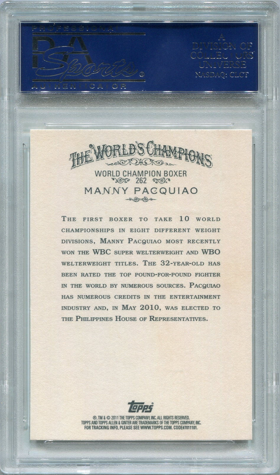 Manny Pacquiao Psadna Certified Authentic Autograph 2011 Topps