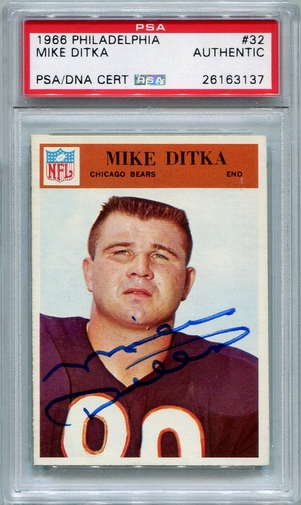 Mike Ditka PSA/DNA Certified Authentic Autograph - 1966 Philadelphia Gum Co. (Red 3137)