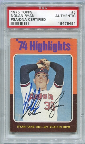 Nolan Ryan PSA/DNA Certified Authentic Autograph - 1975 Topps