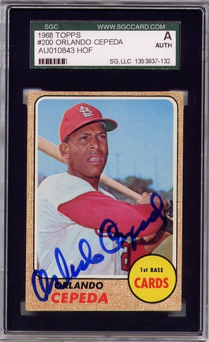 Orlando Cepeda SGC Certified Authentic Autograph - 1968 Topps