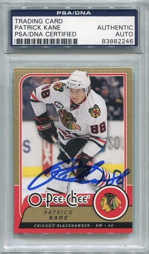 Patrick Kane PSA/DNA Certified Authentic Autograph - 2008 O-Pee-Chee #448