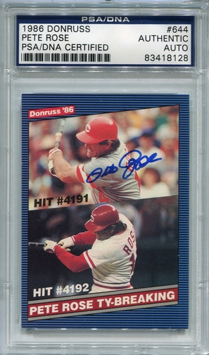 Pete Rose PSA/DNA Certified Authentic Autograph - 1986 Donruss