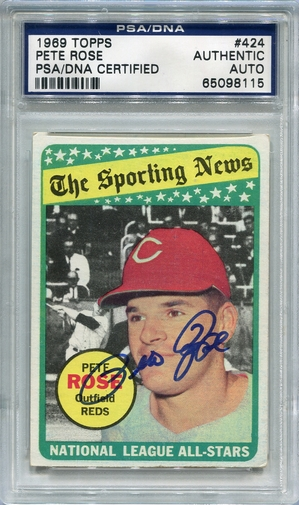 Pete Rose PSA/DNA Certified Authentic Autograph - 1969 Topps