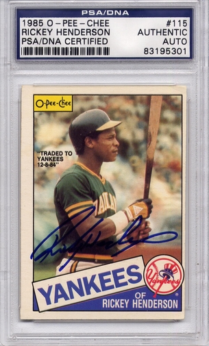 Rickey Henderson PSA/DNA Certified Authentic Autograph - 1985 OPC