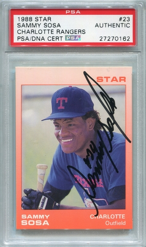 Sammy Sosa PSA/DNA Certified Authentic Autograph - 1988 Star