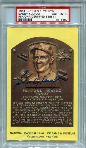 Sandy Koufax PSA/DNA Certified Authentic Autograph - Hall of Fame Plaque Postcard (RL6687)