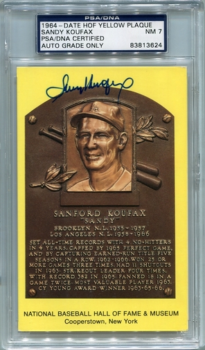 Sandy Koufax PSA/DNA Certified Authentic Autograph - Hall of Fame Plaque Postcard (BL3624)