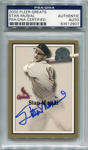 Stan Musial PSA/DNA Certified Authentic Autograph - 2000 Fleer Greats