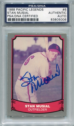 Stan Musial PSA/DNA Certified Authentic Autograph - 1988 Pacific Legends