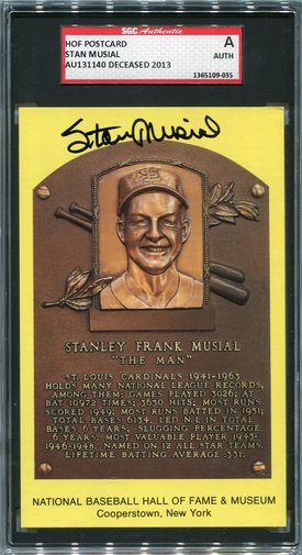 Stan Musial SGC Certified Authentic Autograph - Hall of Fame Postcard