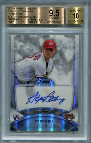 Stephen Strasburg Rookie BGS Certified Authentic Autograph - 2010 Bowman Sterling Refractors