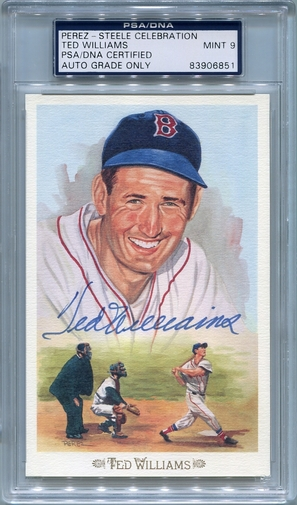 Ted Williams PSA/DNA Certified Authentic Autograph - Perez-Steele Celebration Postcard