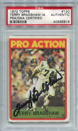 Terry Bradshaw PSA/DNA Certified Authentic Autograph - 1972 Topps In Action
