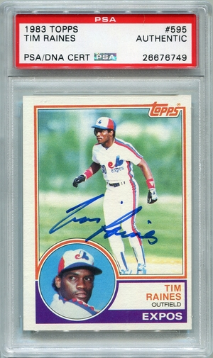 Tim Raines PSA/DNA Certified Authentic Autograph - 1983 Topps