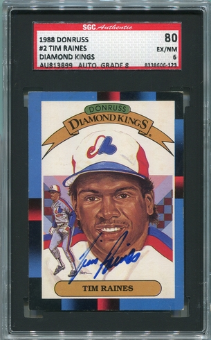 Tim Raines SGC Certified Authentic Autograph - 1988 Donruss Diamond Kings