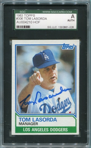 Tommy Lasorda SGC Certified Authentic Autograph - 1983 Topps