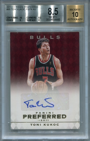 Toni Kukoc BGS Certified Authentic Autograph - 2011 Panini Preferred