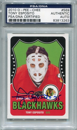 Tony Esposito PSA/DNA Certified Authentic Autograph - 2010 O-Pee-Chee