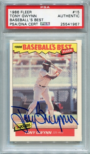 Tony Gwynn PSA/DNA Certified Authentic Autograph - 1986 Fleer B.B.