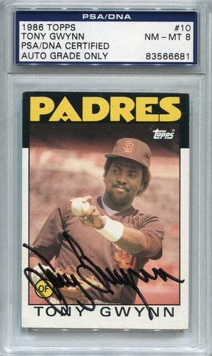 Tony Gwynn PSA/DNA Certified Authentic Autograph - 1986 Topps
