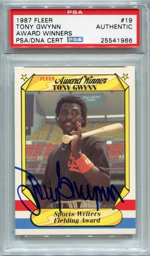 Tony Gwynn PSA/DNA Certified Authentic Autograph - 1987 Fleer A.W.