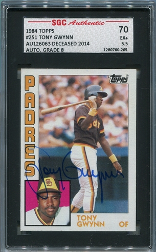 Tony Gwynn SGC Certified Authentic Autograph - 1984 Topps