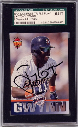 Tony Gwynn SGC/JSA Certified Authentic Autograph - 1994 Donruss Triple Play