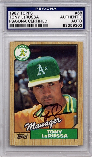 Tony LaRussa PSA/DNA Certified Authentic Autograph - 1987 Topps