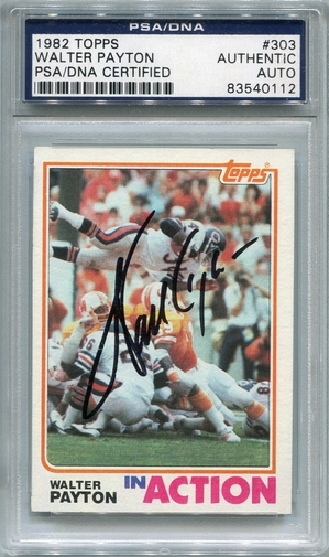 Walter Payton PSA/DNA Certified Authentic Autograph - 1982 Topps
