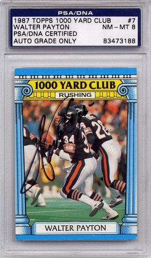 Walter Payton PSA/DNA Certified Authentic Autograph - 1987 Topps 1000 Yard Club (BL3188)