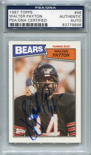Walter Payton PSA/DNA Certified Authentic Autograph - 1987 Topps