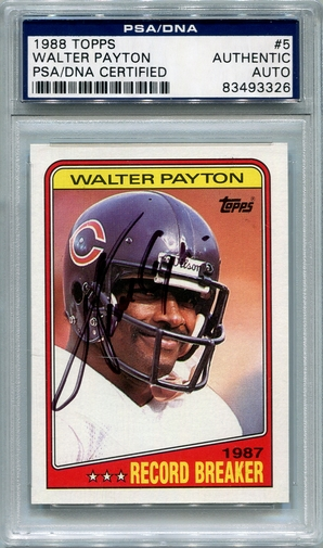 Walter Payton PSA/DNA Certified Authentic Autograph - 1988 Topps BL3326