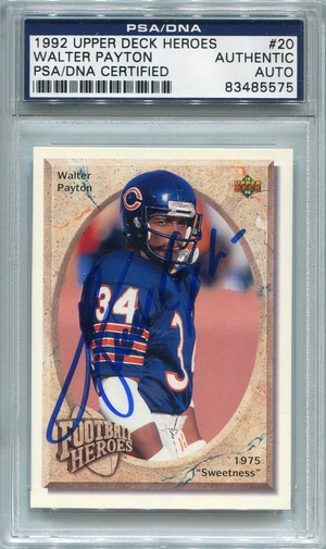 Walter Payton PSA/DNA Certified Authentic Autograph - 1992 Upper Deck Heroes #20