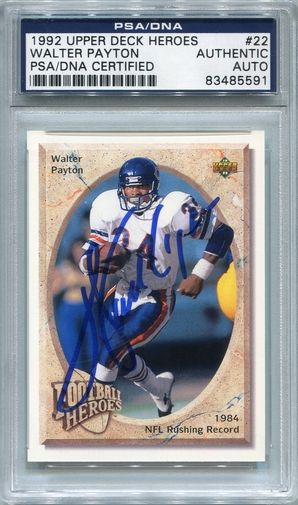 Walter Payton PSA/DNA Certified Authentic Autograph - 1992 Upper Deck Heroes #22