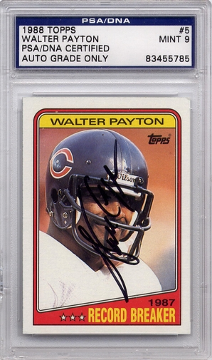 Walter Payton PSA/DNA Certified Authentic Autograph - 1988 Topps BL5785
