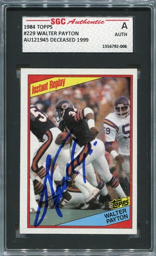 Walter Payton SGC Certified Authentic Autograph - 1984 Topps