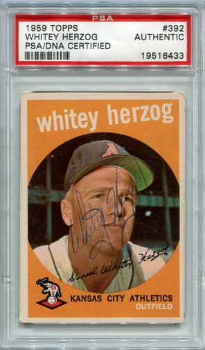 Whitey Herzog (HOF) PSA/DNA Certified Authentic Autograph - 1959 Topps