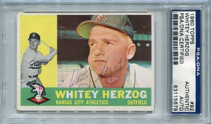 Whitey Herzog PSA/DNA Certified Authentic Autograph - 1960 Topps