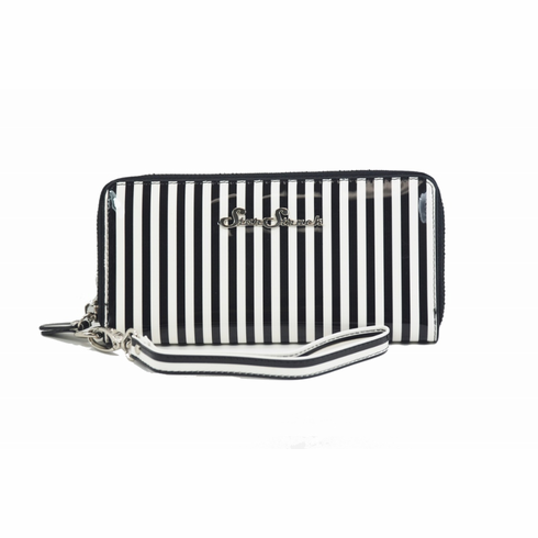 Black and White Stripe Wallet/Wristlet