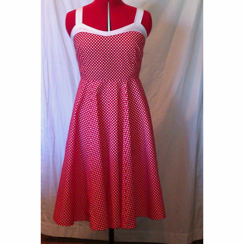 Red and White Polka Dot Swing Dress