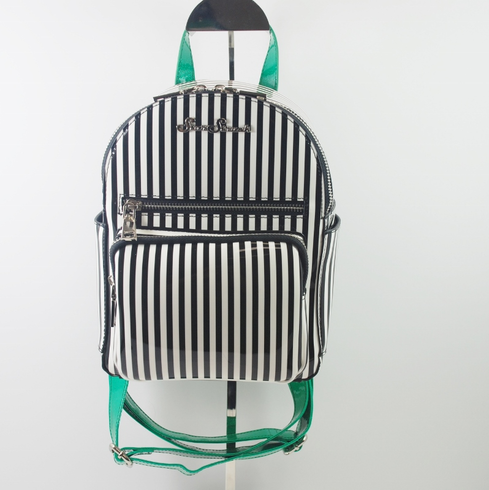 Ringleader Mini Backpack - Emerald Green/Black and White Stripes