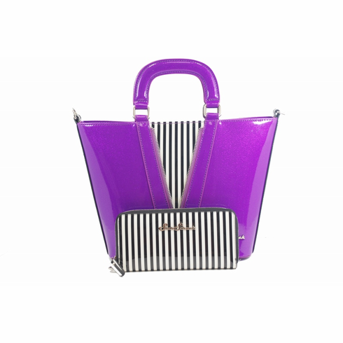 Vixen Tote - Violet/Black and White Stripes